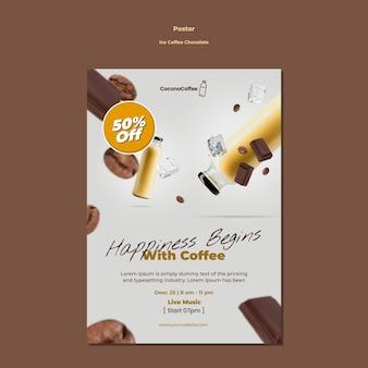 Panfleto de chocolate e café gelado