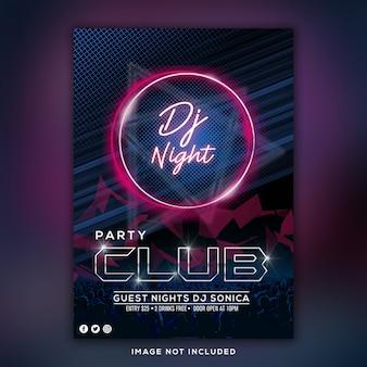 Panfleto de clube de festa dj noite