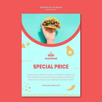 Panfleto de comida mexicana com foto