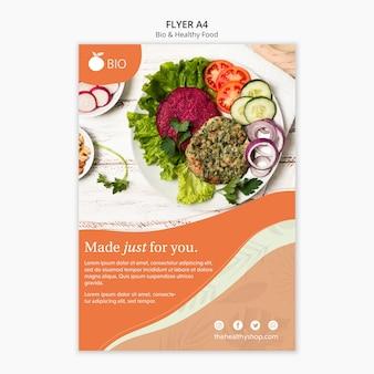 Panfleto de conceito de alimentos saudáveis e bio