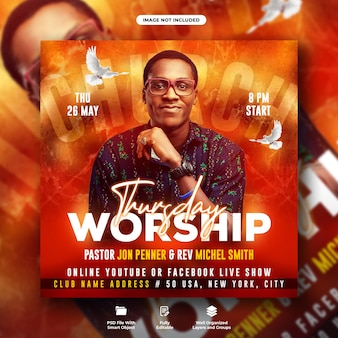 Panfleto de conferência da igreja de quinta-feira e modelo de banner de mídia social
