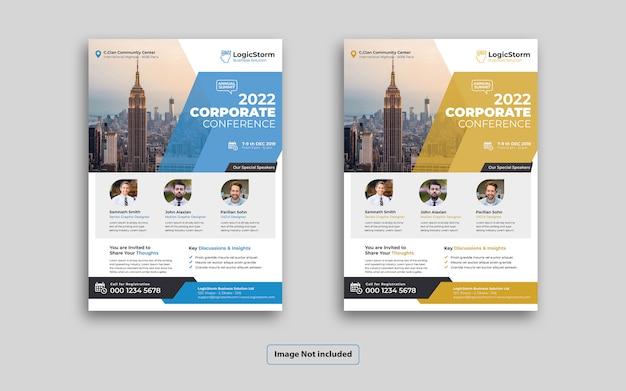 Panfleto de conferência de negócios corporativos elegante