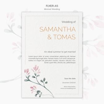 Panfleto de convite de casamento mínimo