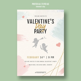 Panfleto de convite de festa de dia dos namorados