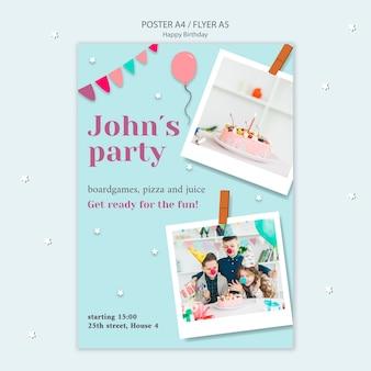 Panfleto de feliz aniversário com guirlandas e balões