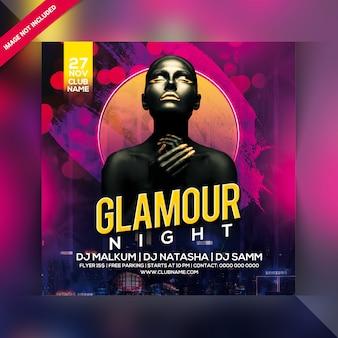 Panfleto de festa à noite de glamour