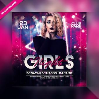 Panfleto de festa à noite de meninas