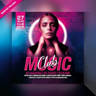 Panfleto de festa à noite de música clube