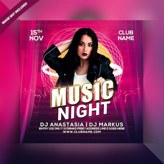 Panfleto de festa à noite de música