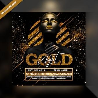 Panfleto de festa à noite de ouro