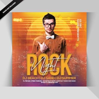 Panfleto de festa à noite de rock
