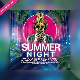 Panfleto de festa à noite de verão