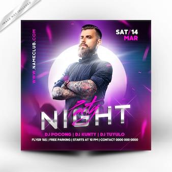 Panfleto de festa à noite ou modelo de cartaz