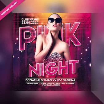 Panfleto de festa à noite rosa