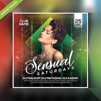Panfleto de festa à noite sensual aos sábados