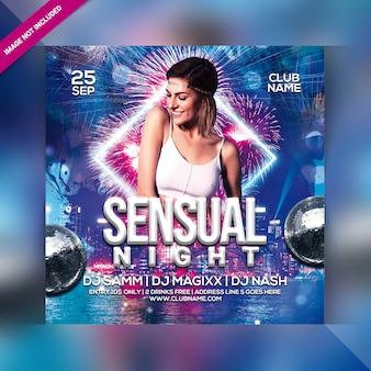 Panfleto de festa à noite sensual
