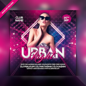 Panfleto de festa à noite urbana