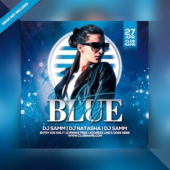 Panfleto de festa azul