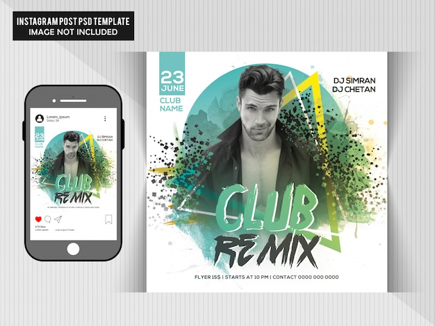 Panfleto de festa club remix