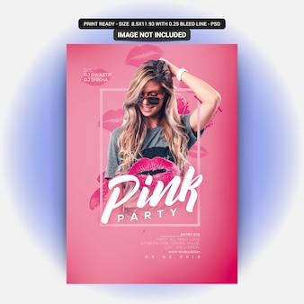Panfleto de festa cor de rosa
