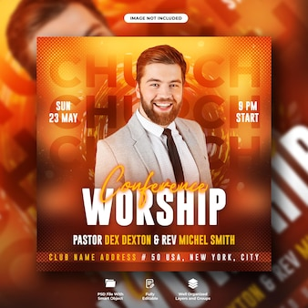Panfleto de festa da igreja e modelo de banner da web de mídia social