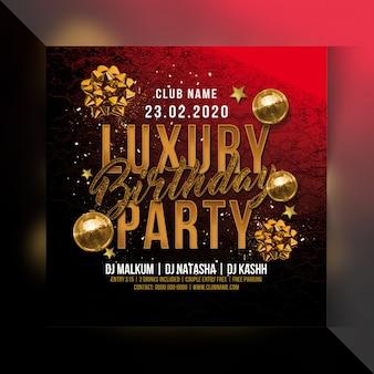 Panfleto de festa de aniversário de luxo