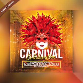 Panfleto de festa de celebração de carnaval
