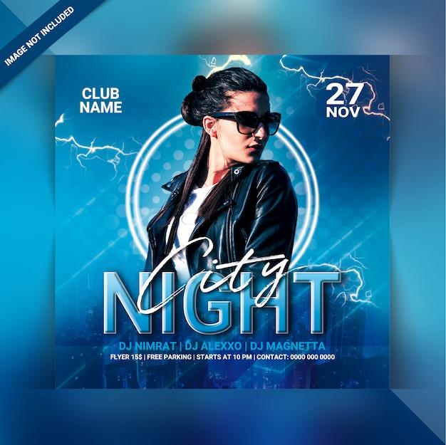 Panfleto de festa de cidade à noite