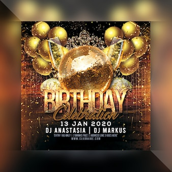 Panfleto de festa de comemoração de aniversário