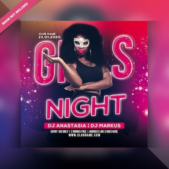Panfleto de festa de noite de meninas