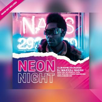 Panfleto de festa de noite de néon