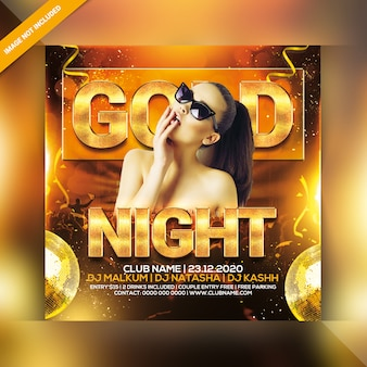 Panfleto de festa de noite de ouro