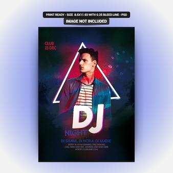Panfleto de festa de noite dj