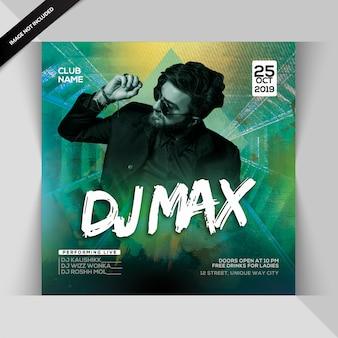 Panfleto de festa de noite max dj
