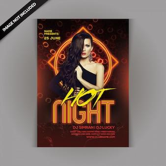 Panfleto de festa de noite quente