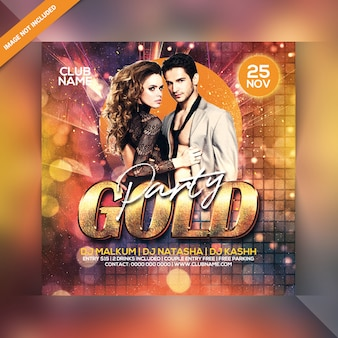 Panfleto de festa de ouro