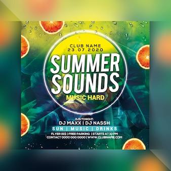 Panfleto de festa de som de verão