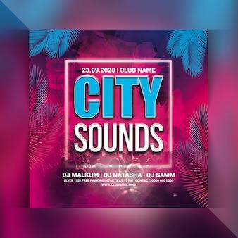 Panfleto de festa de sons da cidade