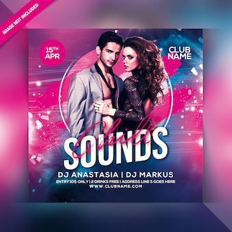Panfleto de festa de sons de clube