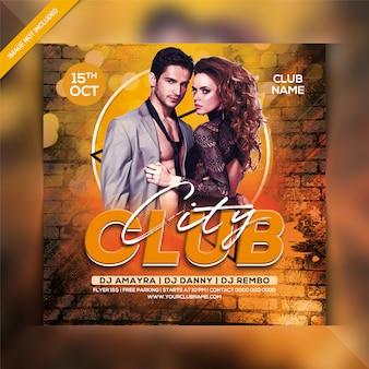 Panfleto de festa do clube da cidade