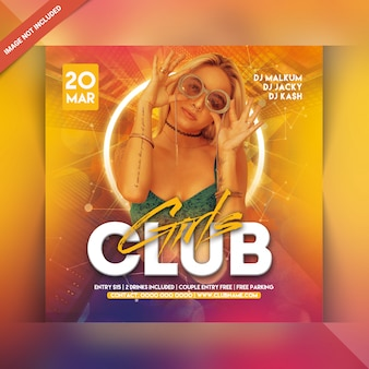 Panfleto de festa do clube de meninas