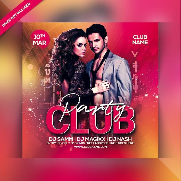 Panfleto de festa do clube