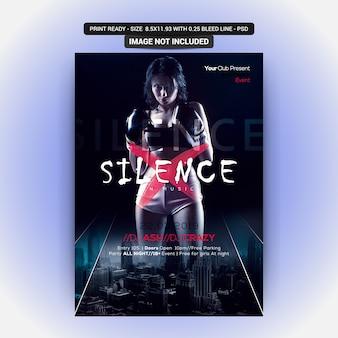 Panfleto de festa do silêncio