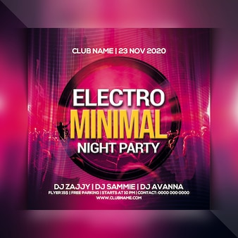 Panfleto de festa electro noite mínima