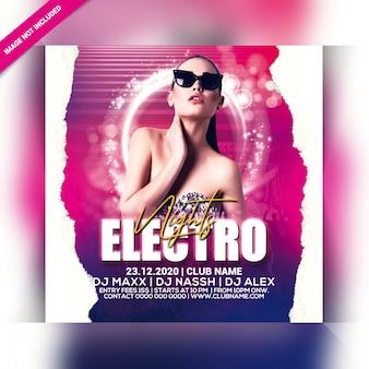Panfleto de festa electro noites