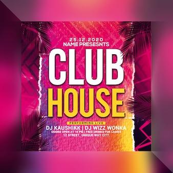 Panfleto de festa em casa de clube