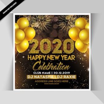 Panfleto de festa feliz ano novo de 2020