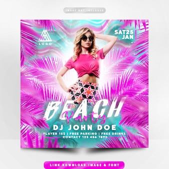Panfleto de festa na praia