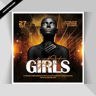 Panfleto de festa nightout meninas