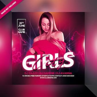 Panfleto de festa noite cidade meninas